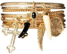7f4acb49a00 River Island Jewelry | River Island Hanging Charms Bangle Pack in Gold - Lyst  River Island