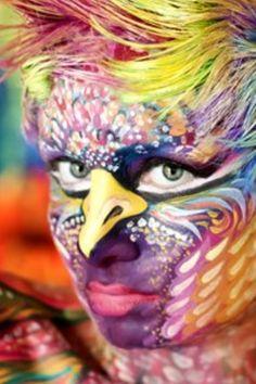 Parrot face paint....wow that's a lot...
