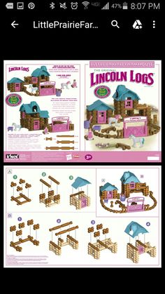 Little Prairie Farmhouse Lincoln Log Set No Box Never Played Complete 222 Pieces