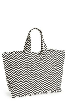 Tri-Coastal Design Chevron Print Canvas Tote (Juniors) (Online Only) | Nordstrom