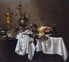 Title: Still Life with a Silver Ewer, Nautilus Cup and Ham, c.1650/55 Artist: Willem Claesz Heda Medium: Hand-Painted Art Reproduction