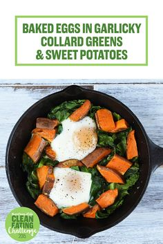 Baked Eggs with Collards and Sweet Potatoes
