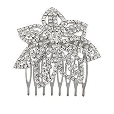Lux Accessories Silvertone and Pave Bling Flower Bride Bridal Metal Hair comb pin -- Details can be found by clicking on the image.