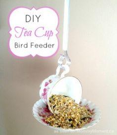 Tea Cup Birdfeeder - 23 DIY Birdfeeders That Will Fill Your Garden With Birds
