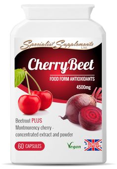 WHOLESALE COMBINATION SOUR CHERRY AND BEETROOT CAPSULES: Our wholesale CherryBeet food supplement combines beetroot powder and extract (10:1), with Montmorency sour cherry powder and extract (10:1) - 4500mg per capsule. This unique product is high in bioavailable antioxidants (including anthocyanins), dietary fibre, folic acid, vitamins and non-irritating iron and trace minerals. No MOQs; white label and dropshipping available.