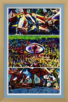 Rugby Action - Art On Canvas Print. Original rugby art by Roger Smith. One for the rugby follower's wall. Reproduced on premium canvas for colour brightness & longevity http://www.zazzle.com/rugby_action_art_on_canvas_print-228824995829815090 #rugby #art #print #rugbyunion