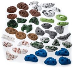 Get started on a homemade climbing wall with this package of 40 Metolius Greatest Chips Screw-on holds. Available at REI, 100% Satisfaction Guaranteed.