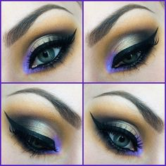 neutral #smokey eye into yellow caramel + pop of colour: #purple in the inner corner | #makeup @ ?
