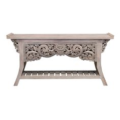 Teak Carved Console Grey