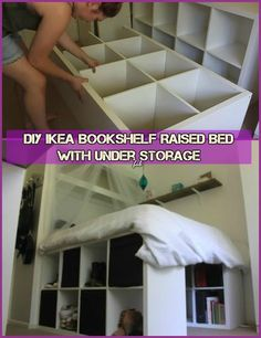 DIY IKEA Bookshelf Raised Bed With Under Storage – Video – toptrendpin. Raised Platform Bed, Platform Bed With Storage, Bed Platform, Diy Storage Bed, Bed Frame With Storage, Diy Bed Frame, Diy Bookshelf Bed Frame, Ikea Bedroom Storage, Bedding Storage