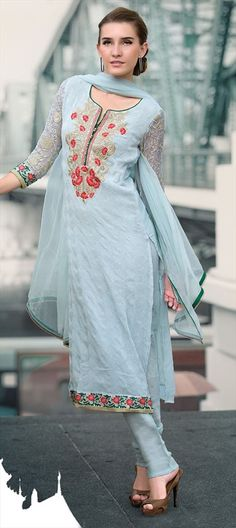 418479, Party Wear Salwar Kameez, Chiffon, Machine Embroidery, Resham, Stone, Zari, Border, Lace, Blue Color Family