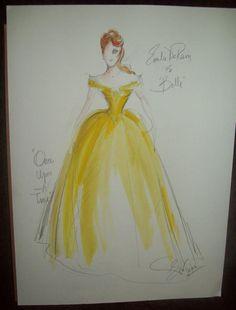 Belle - Original Once Upon A Time costume sketch by Eduardo Castro
