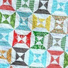Easy Double Hourglass Blocks | FaveQuilts.com-By: Allison This tutorial for Easy Double Hourglass Blocks enables you to make an hour glass quilt pattern in no time. Using cardstock templates really speeds up the processHarris from Cluck Cluck Sew..Block Size: 6.5 inches wide x 6.5 inches long-