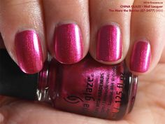 China Glaze Nail Lacquer in The More the Berrier (swatch by fivezero.ca) [pink, fuchsia, metallic]