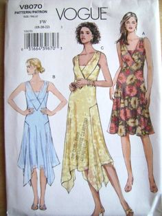 Vogue Pattern V8070 Uncut 6 8 10 12 14 16 18 20 22 Oop Dress