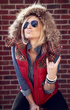rockin. i like the red and flannel fur vest with the denim
