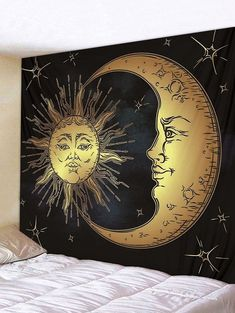 The Tried and True Method for Gold Sun Moon Wall Tapestry in Step by Step Detail Bedrooms will not ever be the exact same again. In reality, your small bedroom might be a blessing at a better night's sleep. Cheap Wall Tapestries, Tapestry Wall Hanging, Reproductions Murales, Sun And Moon Tapestry, Bohemian Tapestry, Hippie Tapestries, Tapestry Bedroom, Moon Print, Aesthetic Bedroom