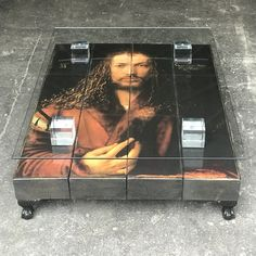 This fabulous bespoke Durer Coffee Table by Cappa E Spada features an original painting of the supremely gifted Albrecht Dürer handcrafted onto reclaimed sleepers, sat on stylish black feet, crystal block supports and finished off with a glass top. Unique Coffee Table, Glass Top Coffee Table, Coffee Tables, Original Artwork, Original Paintings, Anthony William, Albrecht Durer, Safety Glass, Bespoke Furniture