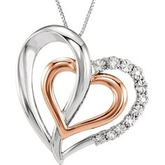 FB Jewels 14K Rose Gold-Plated 925 Sterling Silver .06 CTW Diamond Heart 18 Necklace