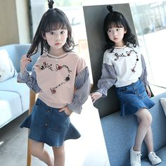 Spring New Pattern Two Pieces Stripe Skirt Cowboy Short Skirt Kids Clothing Sets Shirt Skirt, T Shirt, Denim Skirt, Dress Skirt, Korea Fashion, Girl Fashion, Korean Babies, Spring New, Girl Falling