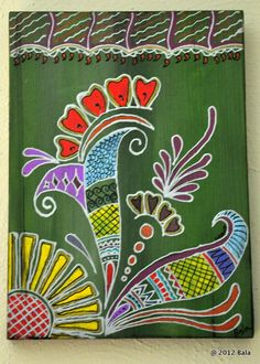 Dreamy! Acrylic henna style painting on upcycled wooden panel (from a shelf). © 2012 Bala Thiagarajan