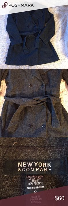 🎉SALE🎉 NY&C wool-blend pea coat New York and Company wool-blend pea coat in excellent used condition. Dark grey/light black in color. No missing buttons, comes with extra button to replace any buttons that fall off. Size 8. Comes with tie that can also be removed. 80% wool 20% nylon, dry clean only. New York & Company Jackets & Coats Pea Coats