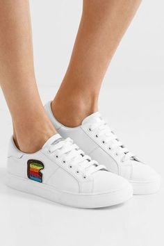 Marc Jacobs - Empire Toast Embellished Leather Sneakers - White - IT38