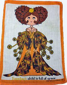 Tuesdays Child Vintage Tea Towel by ruralretro, via Flickr