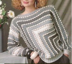 Crochet Womans Bobble Sweater Pullover with long Sleeves /OhhhMama/ Vintage Pattern Instant Downloa Women Leaf Yoke Sweater Crochet Pattern with graphs / charts, schematic,some step pictures and a video for joined as you go Gilet Crochet, Crochet Cardigan Pattern, Crochet Blouse, Crochet Lace, Crochet Stitches, Crochet Tops, Vintage Crochet, Knitting Patterns, Crochet Patterns