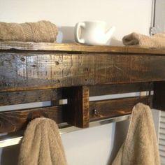 Handmade Reclaimed Pallet Wood Shelf - Entry Organizer - Coat Rack - Bathroom Shelf - Light Stain custom made by Kevin Davis WoodWork