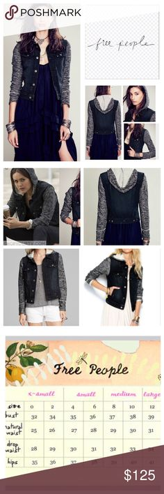 """Free People Knit Hooded Denim Jacket.  NWT. Free People Black Combo Knit Hooded Denim Jacket, 100% cotton, machine washable, 18.5"""" armpit to armpit (37"""" all around), 20"""" arm inseam, 20"""" length, removable hoodie, front breast pockets with button flap button closure, front welt pockets, contrast fabric sleeves and hood, drawstring hood, adjustable button tab at hem, intentional distressing throughout, measurements are approx.  Extra button attached.   NO TRADES Free People Jackets & Coats Jean…"""