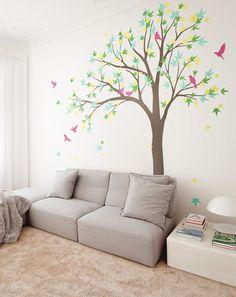 Large Maple Tree vinyl decal, tree wall decal, Nursery Vinyl Wall Decal - K024_b