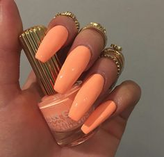 Nails, acrylic summer nails coffin, acrylic nails stiletto, peach nails, or Acrylic Summer Nails Coffin, Peach Acrylic Nails, Nails Yellow, Acrylic Nails Stiletto, Peach Nails, Cute Acrylic Nails, Acrylic Nail Designs, Coffin Nails, Cute Nails
