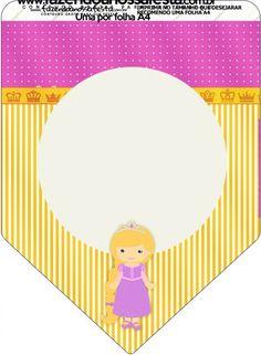 Bandeirinha Varalzinho Princesa Loira Princess Rapunzel, Birthday, Clothes Line, Party Kit, Kids Part, Blond, Princess, Birthdays, Dirt Bike Birthday