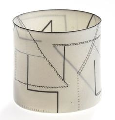 Beautiful, translucent Bodil Manz porcelain cylinder with delicate graphics in black