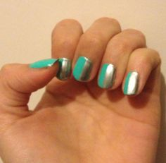 Tiffany blue and silver nails