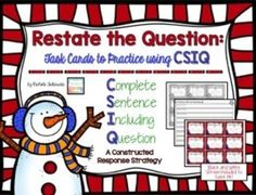 Writing constructed responses can be tough! This product is perfect for students who need to practice answering constructed response questions with a complete sentence! CSIQ is an acronym to help them remember to use a complete sentence with words from th