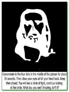 Keeping looking at the center dots between the eyes for about 1 min, then look at a fixed spot on the wall and you will see the face of Jesus