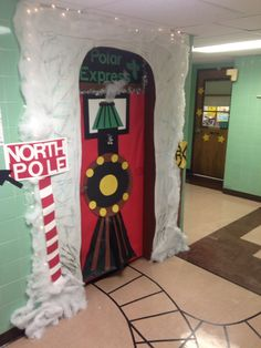 Polar Express holiday/Christmas/winter door decoration at school. This was a lot of fun to make! Christmas Door Decorating Contest, Holiday Door Decorations, School Door Decorations, Winter Door Decoration, Preschool Christmas, Christmas Activities, Christmas Themes, Christmas Crafts, Polar Express Party