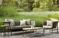 WICKED sofa in naturel and dark green with powder black steel frame, design and edition Vincent Sheppard. Decoration and contemporary furniture in Paris. Outdoor Coffee Tables, Outdoor Lounge, Outdoor Living, Outdoor Areas, Home Living, Living Spaces, Living Room, Garden Furniture, Outdoor Furniture Sets
