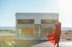 Prada Marfa Editorial Shoot in Valentine Texas with Jenni — The Finches Lifestyle Photography, Editorial Photography, Red Silk Dress, Prada Marfa, Installation Art, Unique Art, Most Beautiful Pictures, Finches, In The Heights