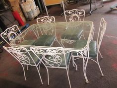 VINTAGE Wrought Iron Vinyl Table Bench Chair Set Rose Leaves