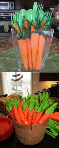 #15. Make cute carrot napkins for Easter dinner party. - Top 27 Cute and Money Saving DIY Crafts to Welcome The Easter