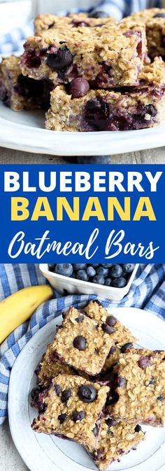 Easy and healthy!! These Blueberry Banana Oat Bars are vegan, gluten-free, only lightly sweetened naturally with maple syrup. They taste amazing and are great for breakfast or snack time! Great easy healthy recipe!