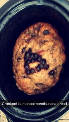 Dark chocolate almond crockpot banana bread