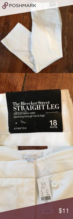 New York and Company White Straight Leg Pants 18p These are brand new from New York and Company! Size 18 Petite! They stretch and are in mint condition! Make me an offer or bundle to save even more!! New York & Company Pants Straight Leg