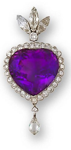 An amethyst and diamond brooch centering a heart-shaped amethyst within a round brilliant-cut diamond surround and briolette diamond terminal, all suspended by a marquise-cut diamond triple-stone surmount; estimated total diamond weight: 4.00 carats; mounted in fourteen karat white gold.