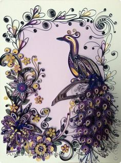 Painting mural drawing Quilling Peacock + small MK Paper Beads band photo 1