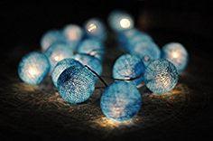 20 X All Blue Light Color Cotton Ball String Light Decor Home Bedroom Living Room Patio Wedding Light Party Display