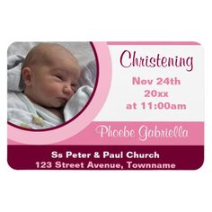 Pink Photo Christening/Baptism Magnet Invitations